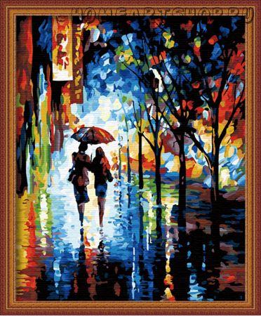 """Раскраска по номерам """"Под дождем"""""""