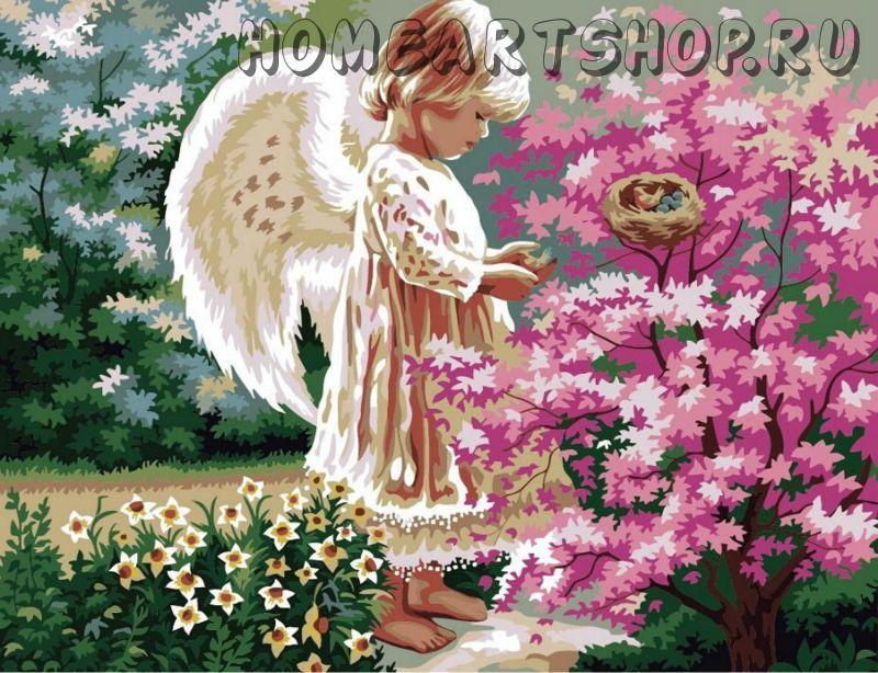 Раскраска на холсте ангел