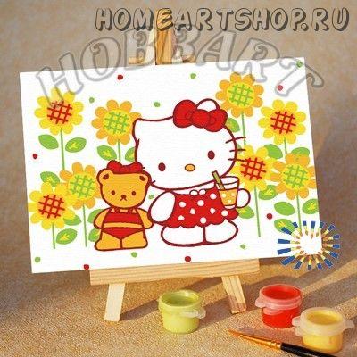 "Картина по номерам ""Hello Kitty. Китти: коктейль на лужайке"""