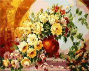 """Раскраска по номерам """"Ваза с чайными розами"""""""
