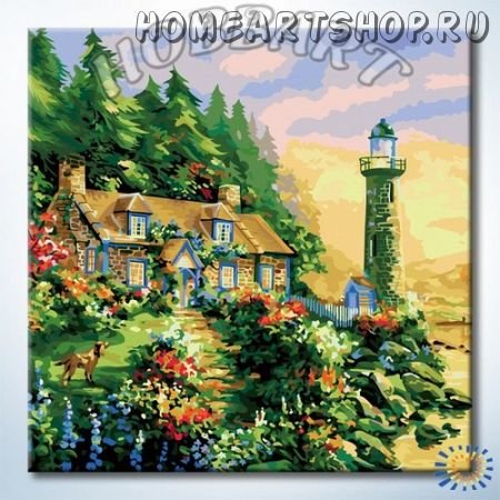 """Картина по номерам """"Дом у маяка"""""""