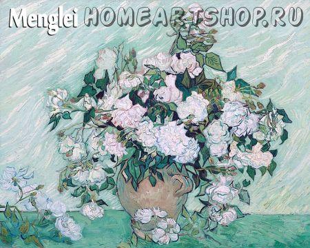 """Раскраска по номерам """"Белые розы Ван Гога"""""""