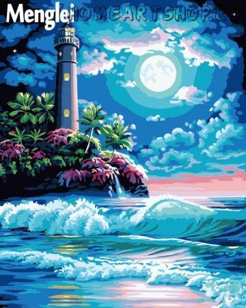 """Раскраска по номерам """"Лунный маяк"""""""